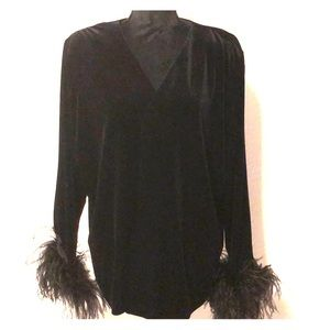 Velour jacket with feather end sleeves